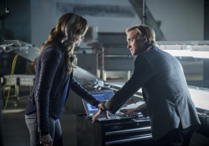 "The Flash -- ""Killer Frost"" -- Image FLA307b_0010b.jpg -- Pictured (L-R): Danielle Panabaker as Caitlin Snow/Killer Frost and Tom Felton as Julian Albert -- Photo: Diyah Pera/The CW -- © 2016 The CW Network, LLC. All rights reserved."