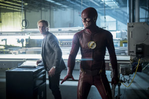 "The Flash -- ""Killer Frost"" -- Image FLA307b_0148b.jpg -- Pictured (L-R): Tom Felton as Julian Albert and Grant Gustin as The Flash -- Photo: Diyah Pera/The CW -- © 2016 The CW Network, LLC. All rights reserved."
